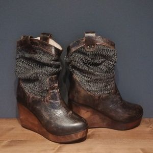 Bed Stu distressed wedge booties